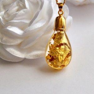 Glass Encapsulated Pendant 24k Goldfoil Necklace
